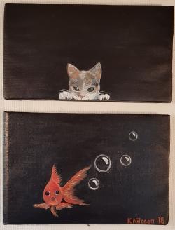 """""""Katt och guldfisk"""" 2 Del 40x52cm SÅLD"""