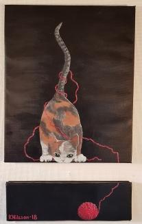 Katt och garn 40x66cm SÅLD